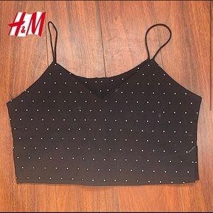 H&M DIVIDED BLACK POLKA DOTTED CAMI VNECK TOP